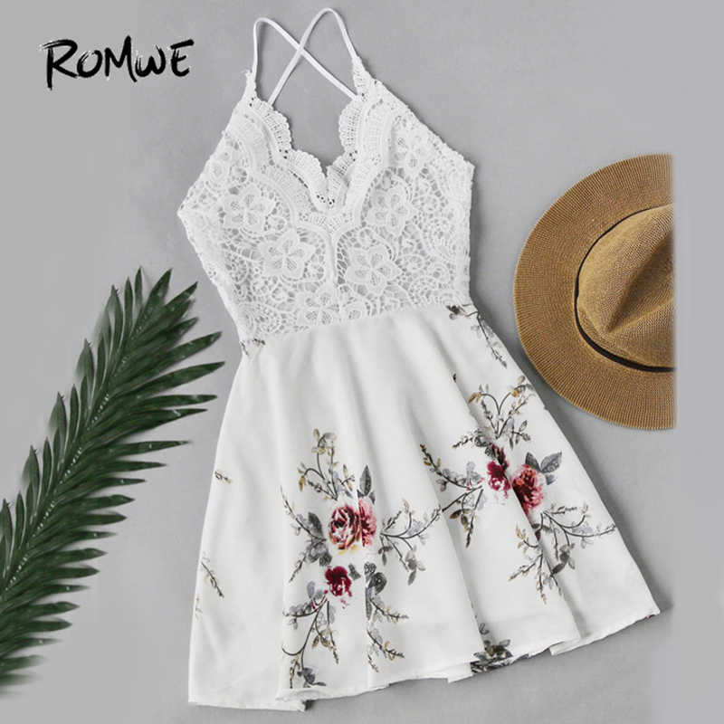 91f3c85a6f1 ROMWE White Vintage Lace Dress Floral Print Women Sexy Cross Back Patchwork  Summer Dress 2018 Sweet