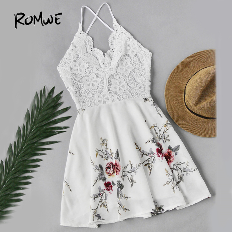 ROMWE White Vintage Lace Dress Floral Print Women Sexy Cross Back Patchwork Summer Dress 2018 Sweet Empire A Line Beach Dress