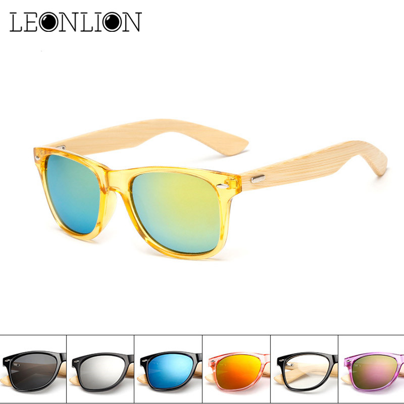 Leonlion Frame Sunglasses Oculos-De-Sol Wooden-Legs Classic Vintage Bamboo Designer Outdoor