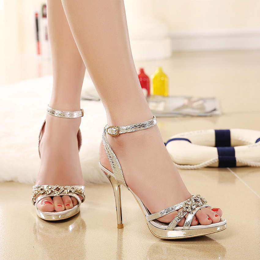 4ca88ef3a5264 Low Price 2015 New Design Ladies Sexy Stilettos High Heels Women Shoes  Pumps Buckle Peep toe Rhinestone Gold Silver Sandals-in Women's Sandals  from Shoes on ...