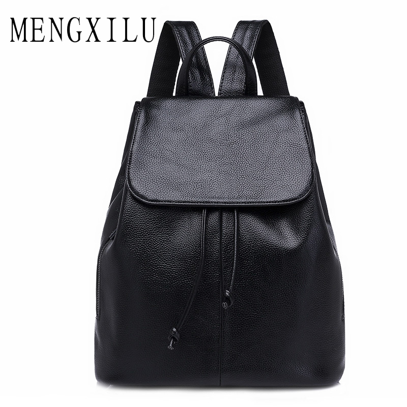 MENGXILU High Quality PU Leather Backpacks for Teenage Girls Female School Shoulder Bag Pack Mochila 2017 Fashion Women Backpack annmouler women fashion backpack pu leather shoulder bag 7 colors casual daypack high quality solid color school bag for girls