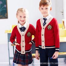 47bb2bc66469e Los niños de la escuela uniforme niños Otoño Invierno Chaqueta de punto  rojo Espana suéter 4