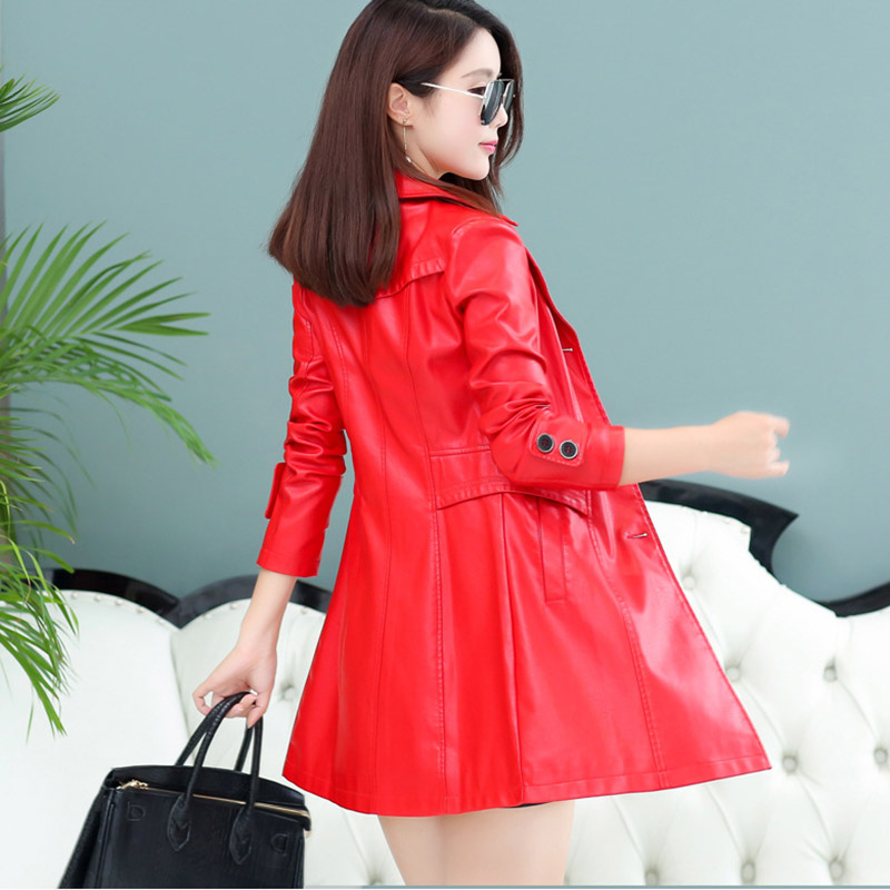 Leather Jacket Women M-4xl Plus Size Women Autumn Winter Pu Leather Trench Coat Long Style Spliced Outwear Female Jacket Qw396