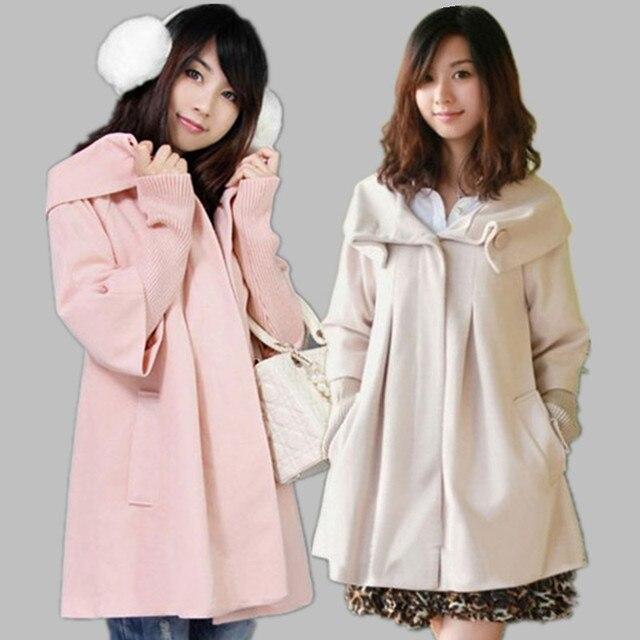 Осень зима женская Горячий продавать мода шерстяной одежды для беременных лучших плюс размер ватные куртки верхняя одежда случайный пальто платье