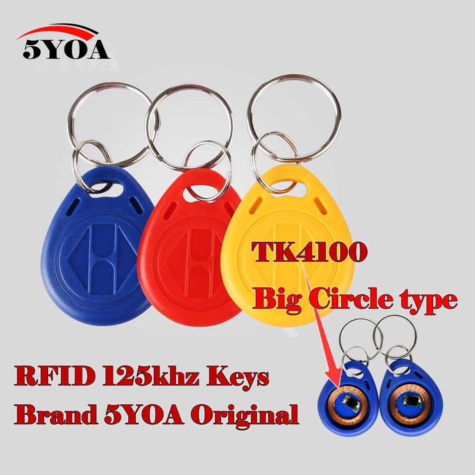 10Pcs RFID Tag Key Big Circle Keyfobs Keychain Ring 125Khz Proximity ID Card Chip TK EM 4100/4102 For Access Control Attendance