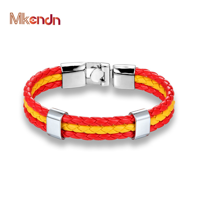 MKENDN High Quality Country Spain Flag Leather Bracelet Men Women Easy-hook Bracelets & Bangles Male Female Jewelry Pulseras(China)