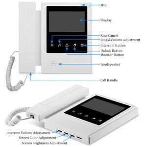 Image 2 - السلكية 4.3 فيديو نظام اتصال داخلي كاميرا الهاتف مع جرس الباب هاتف باب ملون بفيديو 3 شاشات متعددة الشقق/المنزل