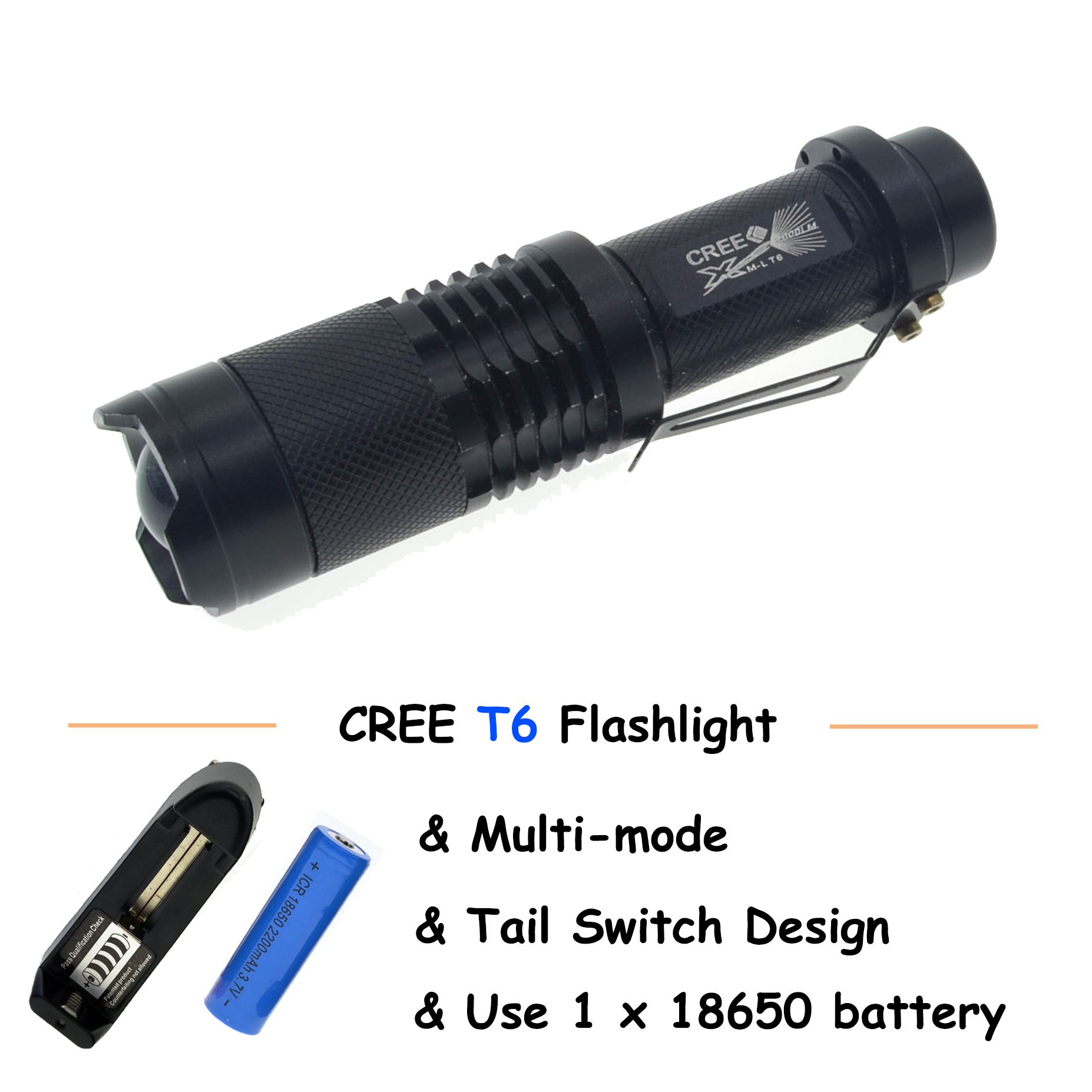 cree rechargeable flashlight led torch XM L T6 waterproof  5 mode lanterna flash light lamp battery 18650 with charger 2017 newest flashlight led cree xm l2 flash light 4 mode torch bike bicycle light outdoor lighting 18650 battery mount holder