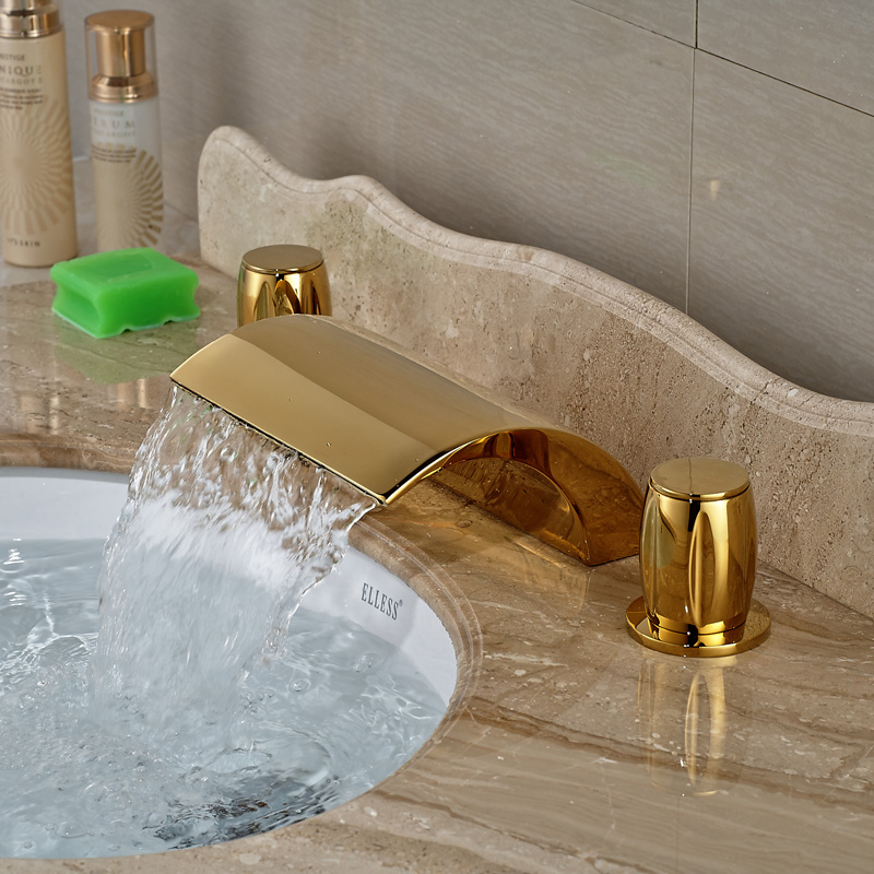 Gold Finish Deck Mounted Bathroom Lavatory Basin Sink Faucet with Waterfall Spout Taps flg free shipping 3 pcs tap waterfall bathroom basin sink bathtub mixer faucet chrome finish with strainer deck mounted taps 303