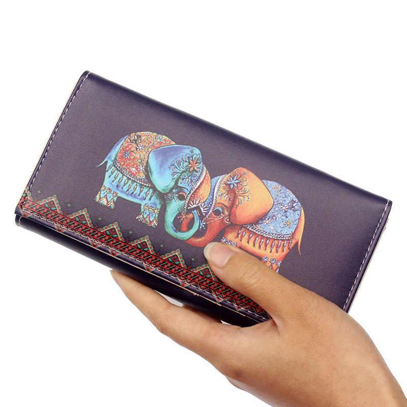 Длинные женские кошельки с принтом в виде слона и граффити, креативные карты, деньги телефон кошелек для девочек, тонкий клатч из искусственной кожи с аниме, 2019 распродажа