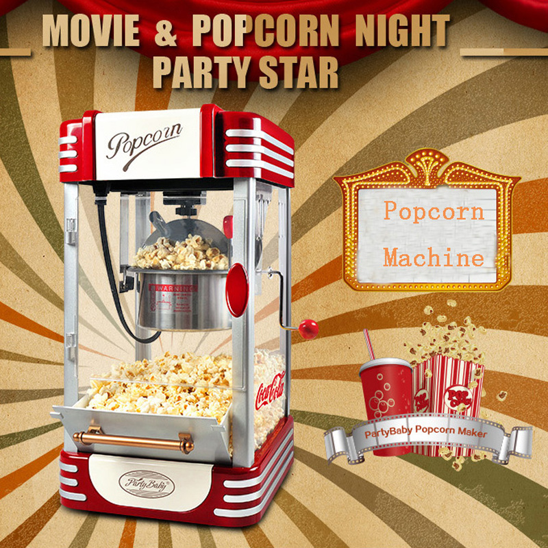 Electric American style popcorn machine mini automatic hot oil popcorn maker stainless steel non-stick pot american style popcorn machine commercial popcorn machine household appliances automatic stainless steel 310w