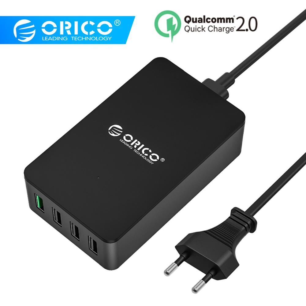 ORICO QSE Quick Charger QC2.0 4 Port Desktop USB Charger for Smartphones and Tablets with EU Plug-Black Зарядное устройство