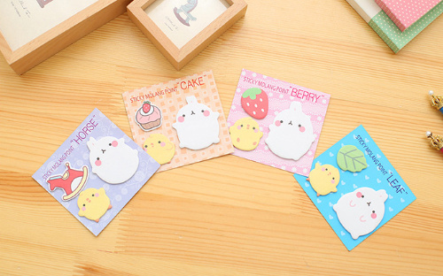 4pcs New Arrival Cute Molang Sticky Notes Rabbit N Times Self-Adhesive Memo Pad set Post It Bookmark School Office Supply