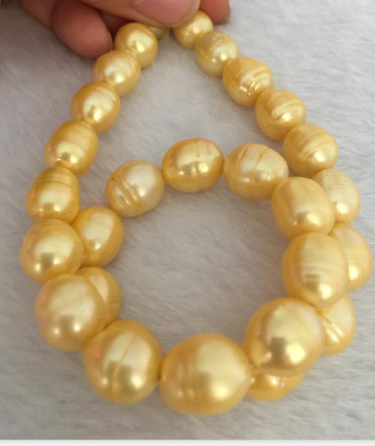 13-14mm mer du sud baroque or perle collier 18