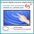 """65"""" inch IR Touch Screen Panels 2/4/6/10 Multi Touch Point USB Touch overlay Kit"""