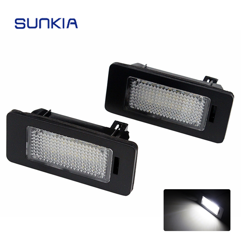 2pcs/set SUNKIA Super White 6000k Car LED Number License Plate Light Lamp Canbus for BMW E39 E60 E61 E70 E82 E90 E92 2pcs lot 24 smd car led license plate light lamp error free canbus function white 6000k for bmw e39 e60 e61 e70 e82 e90 e92