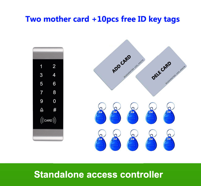 RFID ID card Touch keypad Metal access control system IP65 Anti-hit 1000pcs users 2pcs manage card, 10pcs ID key tags proximity rfid 125khz em id card access control keypad standalone access controler 2pcs mother card 10pcs id tags min 5pcs