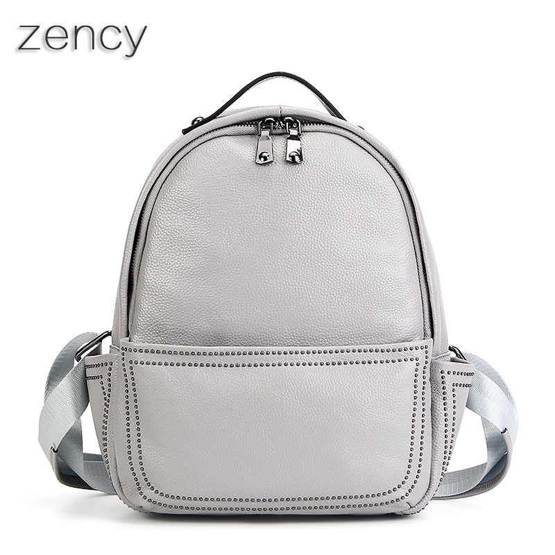 Zency Genuine First Layer Cow Leather Women s Backpacks Ladies Backpack Top Layer Cowhide Mochila