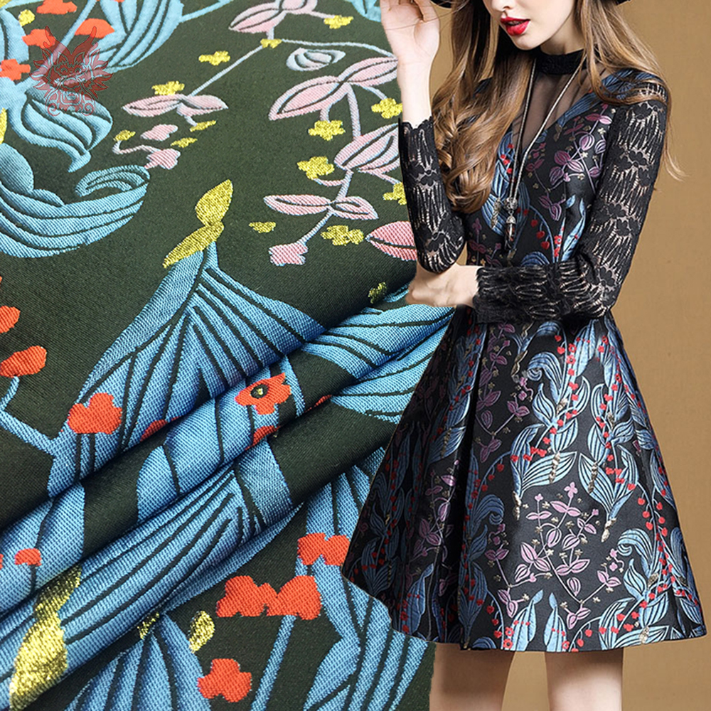 Vintage style blue plant floral metallic jacquard brocade fabric for dress coat tecidos tissue for everyday clothing SP4632