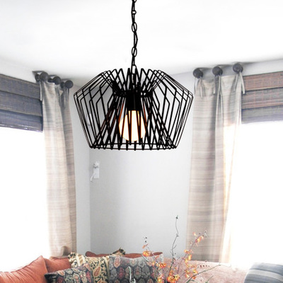 nordic black color wrought iron birdcage pendant light for dining room bar lamp