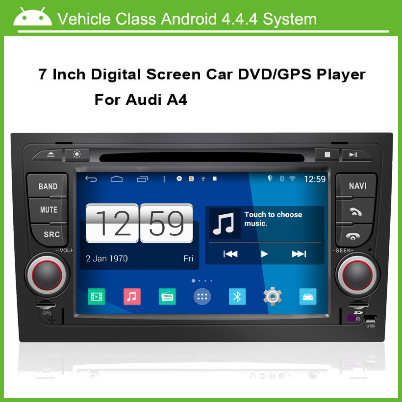 Android Car DVD Video Player for Audi A4 2002 2007 GPS Navigation Multi touch Capacitive screen,1024*600 high resolution