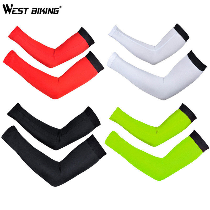 цена на WEST BIKING Breathable Quick-dry Bike Cycling Arm Warmers Bicycle Oversleeve Covers UV Protection Men's Armwarmers Sleeves