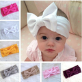 2016 New 10pcs/lot Fashion Big Bow Headband Cotton Baby Girl Turban Headwrap Children Top Knot Headband 11 Colors Free Shipping