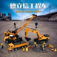 Simulation toy engineering truck excavator crane bulldozer children model taxiing car set toy