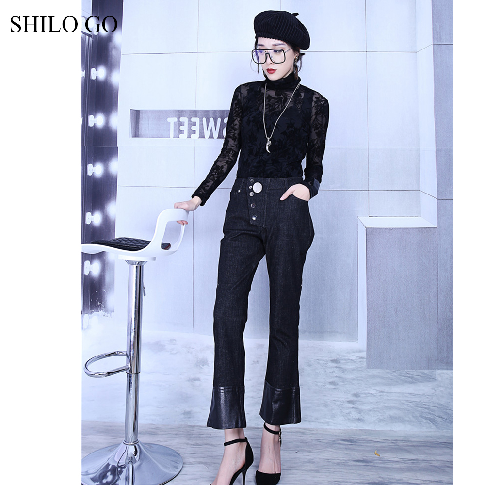 SHILO GO Leather Pants Womens Spring fashion sheepskin genuine leather Pants high waist metal button patchwork small flare jeans - 2