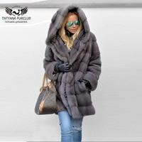 Real Mink Fur Coat Parka 2018 New Arrival Women 80cm Long Fur Jackets With Hood Plus Size Soft Warm Winter Ladies Fur Mink Coats