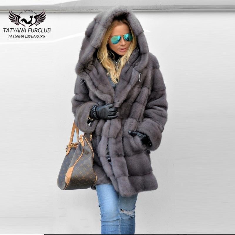 Tatyana Furclub Fur Coat Luxury Real Mink Fur Coats Women Full Pelt Thick Warm Jacket With Big Fur Hood Female Winter Mink Fur