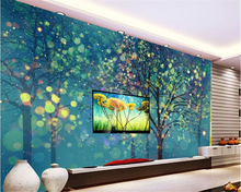 Beibehang Any Custom Size Wall Mural Wallpaper Simple Hand Painted Bedroom  Living Room Wall Wishing Tree Papel De Parede Tapety Part 49
