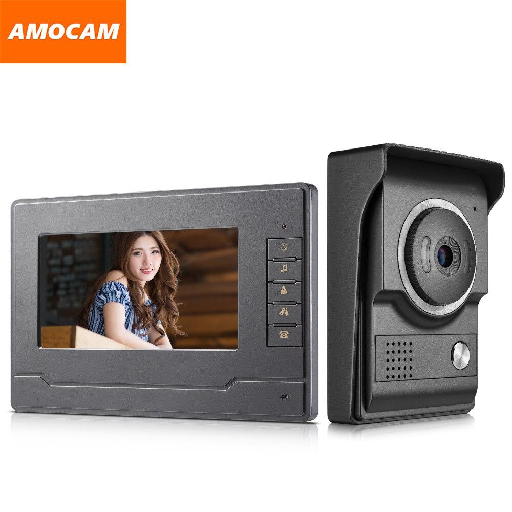 7 Inch Monitor Video Door Phone Doorbell System Video Intercom Interphone System For Home Villa 1-IR Camera 1- LCD Screen