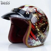 VOSS motorcycle vespa helmet vintage open face 3/4 helmet inner visor motocross jet retro capacete casque moto helmet DOT 052 B