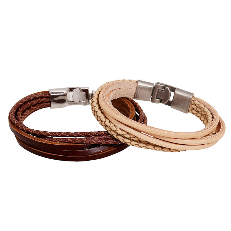 Arte pulsera de cuero trenzada de acero inoxidable palanca de cierre a presión unisex pulsera