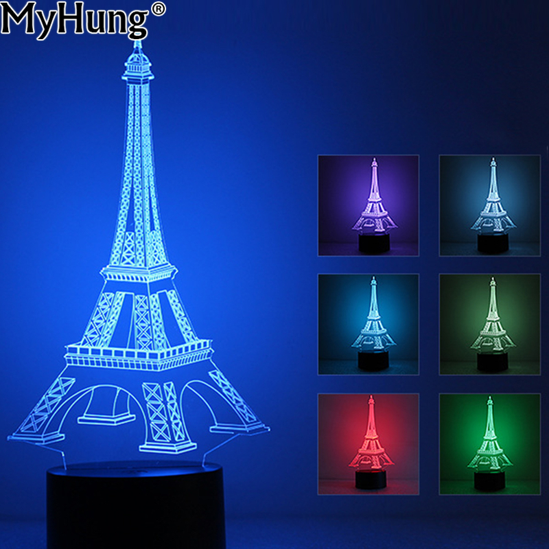 led light bulb 3d illusion france eiffel tower decorations leds changeable mood lamp bedroom. Black Bedroom Furniture Sets. Home Design Ideas