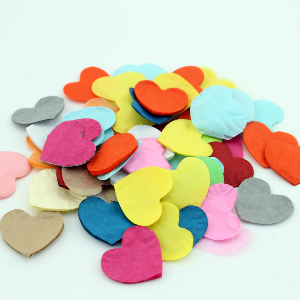 100Packs X 10g Star / Round / Love Heart Multi-Coloured Tissue Paper Confetti Rainbow Favors Colourful Wedding Decorations