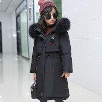 Süper Kalın Kış Ceket Mont Geri Dönüşümlü Kızlar Kürk Kapşonlu Rus Kızlar Kış Ceket Çocuk Ceket Aşağı Parkas Uzun Palto