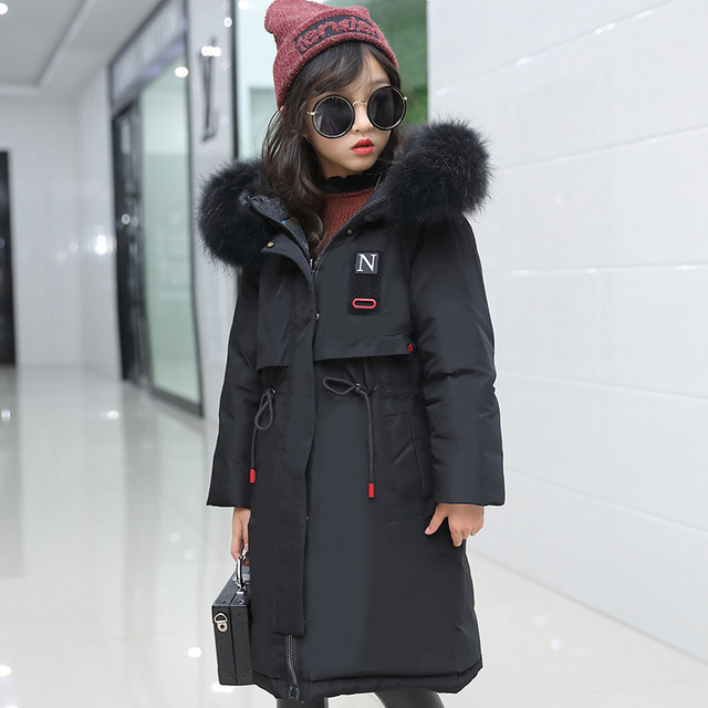 Super Thick Winter Jacket Coats Reversible Girls Fur Hooded Russian Girls Winter Coat Children Jacket Down Parkas Long Overcoat