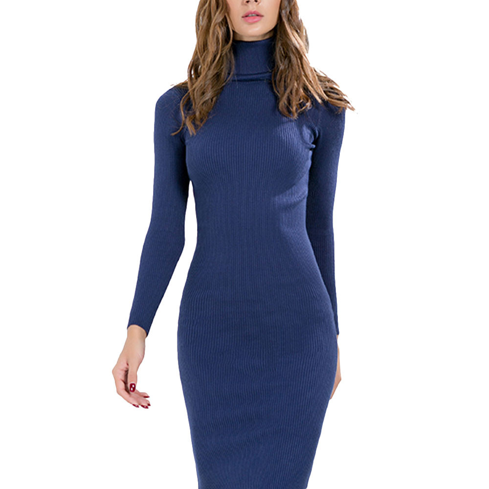 WOMAIL Knitted Winter Dress Women Office Sexy Black Red Blue stand Ribbed Midi Bodycon Sweater Dress Robe Femme O17 tommy hilfiger new poppy red women s small s ribbed crewneck sweater $89 043