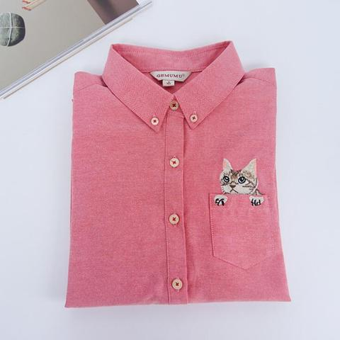 2019 Autumn New Fashion Women Blouses Slim Loose Turn-down Collar Long Sleeve Cat Embroidered Shirts Tops Clothes S-XL Multan