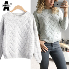 ACHIEWELL Autumn Women Knitted Sweater 3D Twist Pink O Neck Long Sleeve Wave Thicken Plaid Women Sweater and Pullovers Winter