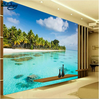 Beibehang Large Custom Wallpaper Mural HD Seaside Coconut Beach TV Wallpaper Wallpaper Download