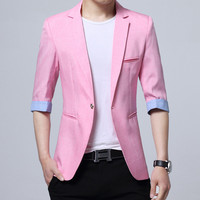 Men blazer jacket 3/4 sleeve Slim terno masculine rCasual Korean fashion cotton linen hombre Summer M XXXL pink color drop ship