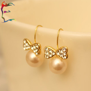 Jewelry 24pairs Lot Pearl Bow Gold Drop Earring Rhinestone Cute Metal Casual Woman Gift
