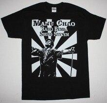 Summer Sleeves Cotton Fashion  Casual Short Mens Manu Chao Radio Bemba Sound System Mano Negra Ska Punk Ethno Black