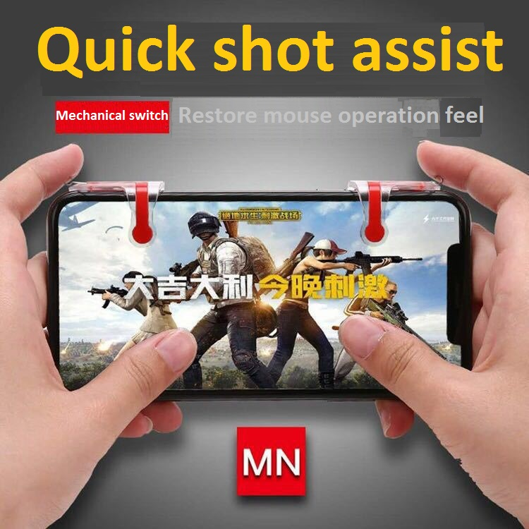 Upgraded Metal Transparent Quick Shooting Button Mobile Game Controller Mobile Phone Gun Game Accessories for Jedi Survival