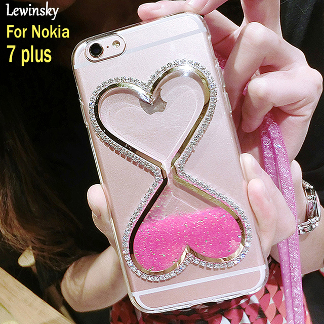 new style 14e85 d43e0 US $3.59  Liquid Dynamic Quicksand Glitter Case For Nokia 7 plus Cover TPU  Case For Nokia E7 plus Cover Luxury Bling Sexy lips Soft Coque-in Fitted ...