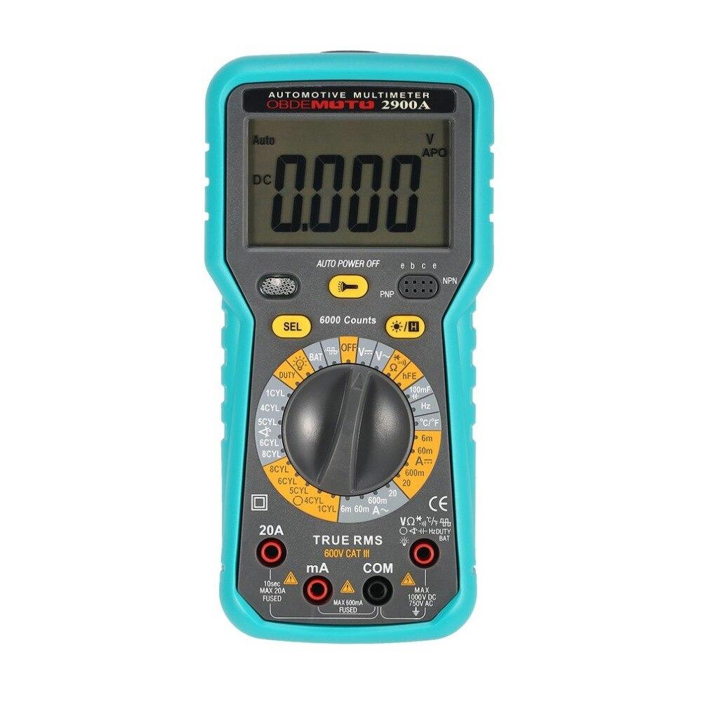 2900A Цифровой Автомобильный Мультиметр 6000 отсчетов истинный RMS AC/DC Вольт Ампер Ом угол вращения тестер температуры