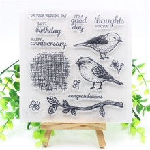 Bird Transparent Clear Silicone Stamps for DIY Scrapbooking/Card Making/Kids Christmas Fun Decoration Supplies